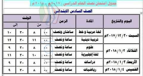 جدول إمتحانات الصف السادس الابتدائي 2017 الترم الأول محافظة إسكندرية