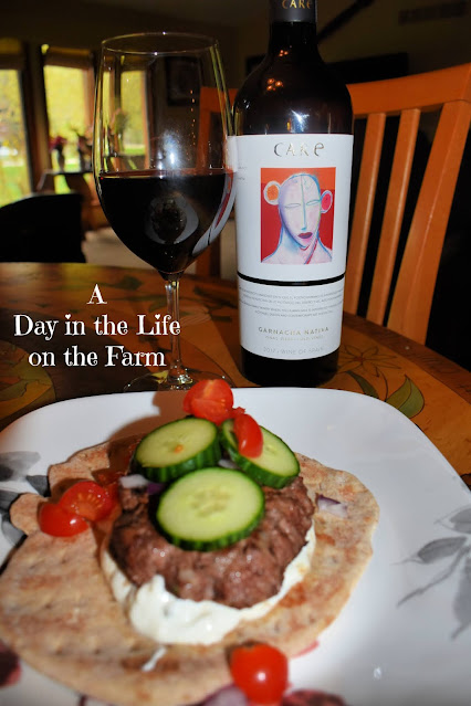 CARE wine with Greek Burger