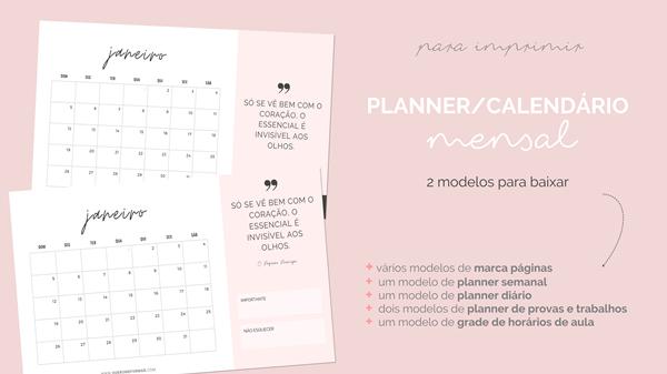 Calendários 2020 Gratuitos e Personalizados para Fazer Download e Imprimir + PLANNERS ESCOLARES