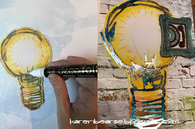 photos of adding decofoil pen & lapis watercolor foil on a paper lightbulb