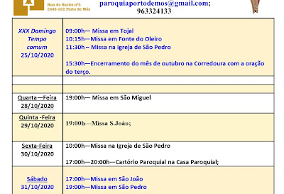 Avisos Paroquiais 25/10 a 1/11/2020