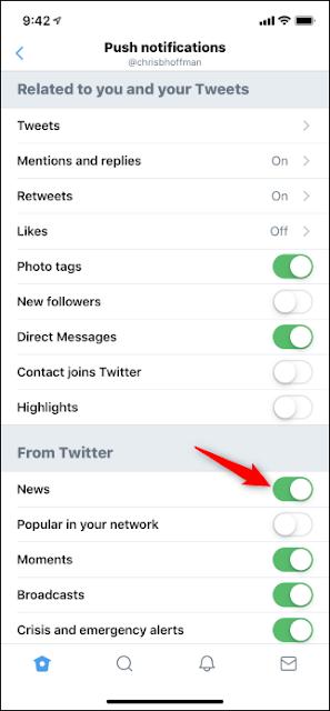 خيار لتعطيل أخبار التغريد لأنك تدفع الإخطارات في تطبيق iPhone