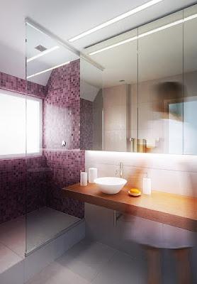 Perspective 3d salle de bain minimaliste rendu douche et vasque
