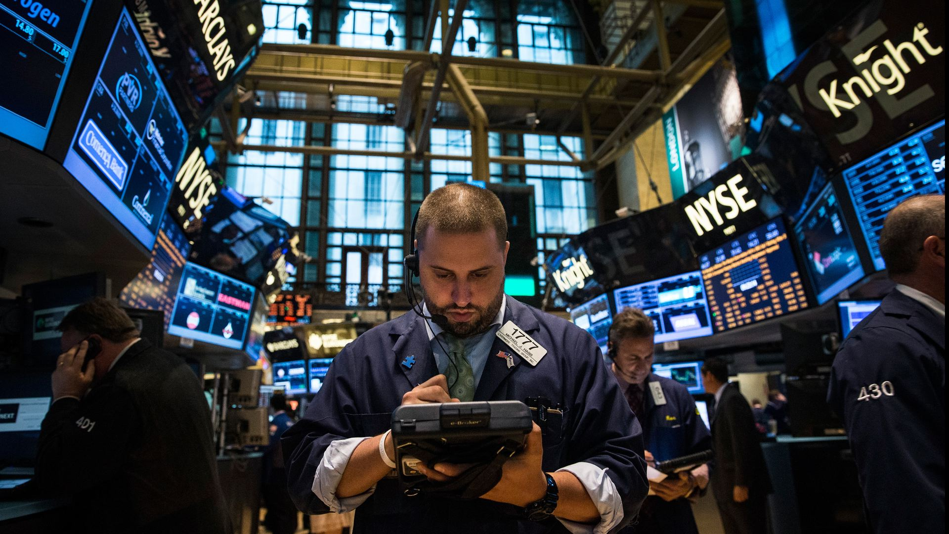 Broker agents monitoring stocks screens