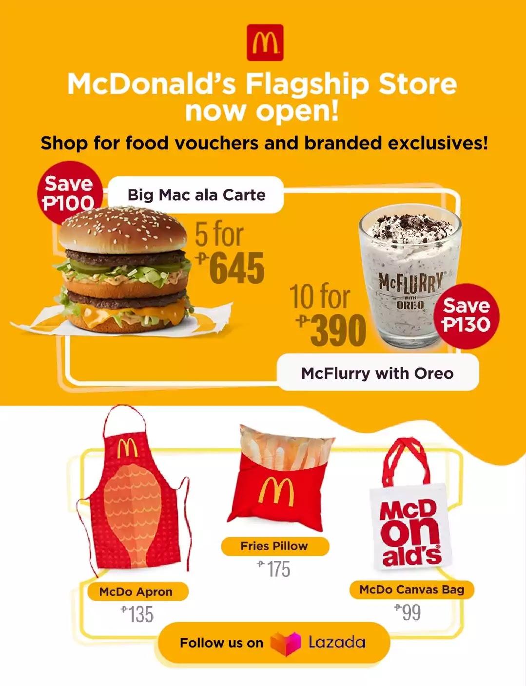 McDonald's food and merch at LazMall