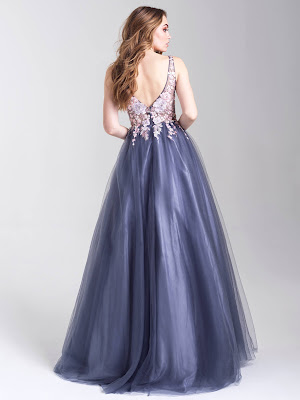 Plunging neckline dresses prom dress Madison James Multi color back side