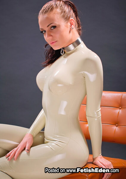 Duck egg white colored latex catsuit Valerie Tramell sexy redhead with blue eyes
