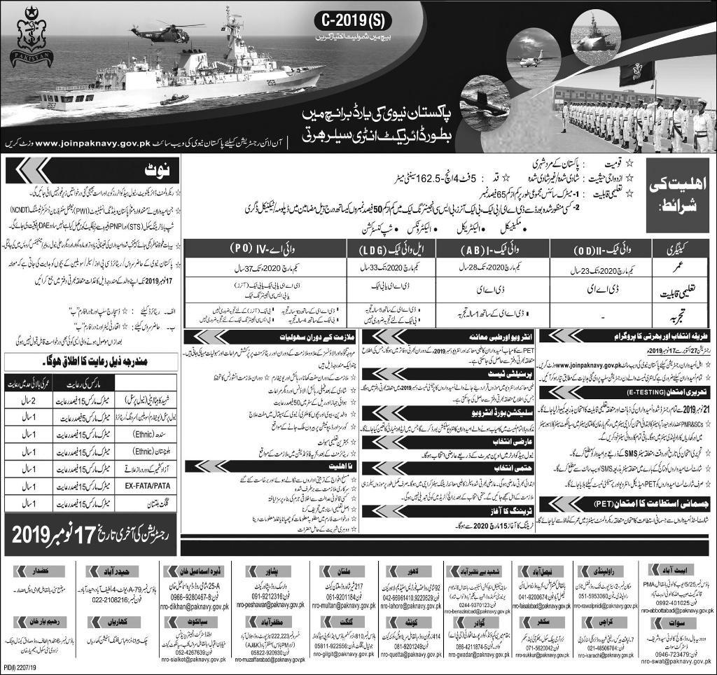 Engineering Jobs in Pakistan Navy as Sailor 2019