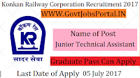 Railway Corporation Limited Recruitment 2017 - Junior Technical Assistant