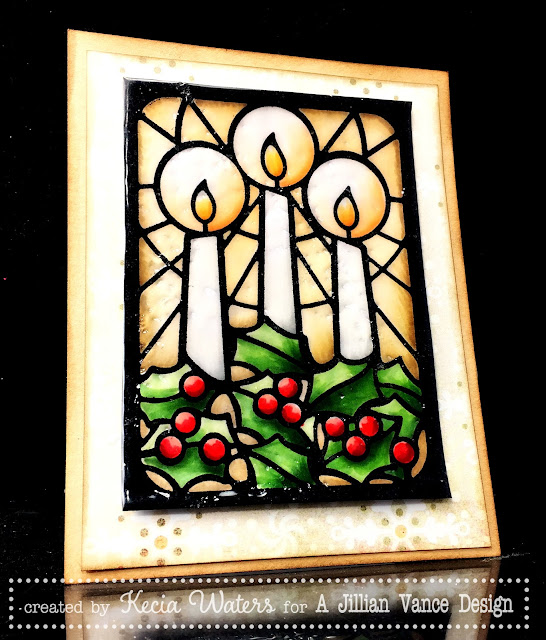 AJVD, Kecia Waters, Copic markers, stained glass, candles, Christmas, UTEE