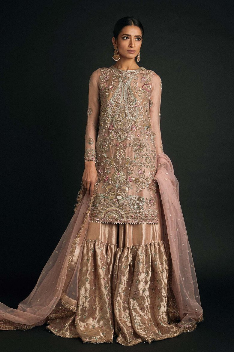 Hand Embroidery Bridal Dresses in Vibrant Color by Zara Shahjahan Gharara