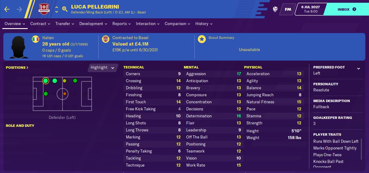 Luca Pellegrini: Attributes in 2027 season