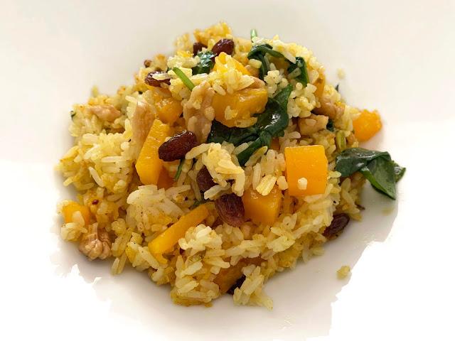 arroz con frutos secos, calabaza, recetas calabaza, arroz fácil