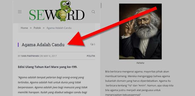 """Situs Seword Muat Artikel """"Agama adalah Candu"""""""