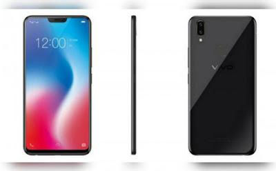 Spesifikasi Vivo V9   Vivo V9 memiliki bahasa desain yang sangat jelas terinspirasi oleh iPhone X. Dan sepertinya, setiap smartphone Android yang rilis tahun ini kemungkinan akan memiliki desain yang sama. Vivo V9 menjadi smartphone Android pertama dengan notch (poni) untuk pasar Indonesia. Mungkin sebagian pengguna menganggap desain layar berponi agak mengganggu ketika menatap layar, tapi sepengalaman Selular, notch tidak benar-benar menghalangi saat menonton video maupun bermain game.  Apalagi, Vivo sudah mengoptimalkan perangkat lunak Vivo V9 sehingga bar status di bagian atas layar sudah mengakomodasi poni dengan pembagian waktu di sebelah kanan dan baterai di sudut kiri. Tombol power dan volume rocker tersusun apik di sayap kanan, sementara tiga slot kartu (2 nano SIM – 1 microSD) tersedia di satu pintu masuk. Port charging jenis micro USB terpahat di bawah bersama jack audio 3,5 mm, speaker, dan mikrofon.   Selanjutnya, untuk sistim operasinya, handphone Vivo 4G LTE terbaru ini juga sudah menggunakan sistim operasi android terbaru, Android 8.1 atau Android Oreo dengan User Interface Funtouch OS 4.0. Kelebihan lain dari Vivo V9 ini adalah pada sektor kameranya. Karena, pada kamera belakangnya dilengkapi dengan dua kamera sekaligus serta untuk kamera depannya memiliki resolusi yang cukup besar. Kamera belakangnya memiliki desain seperti iPho