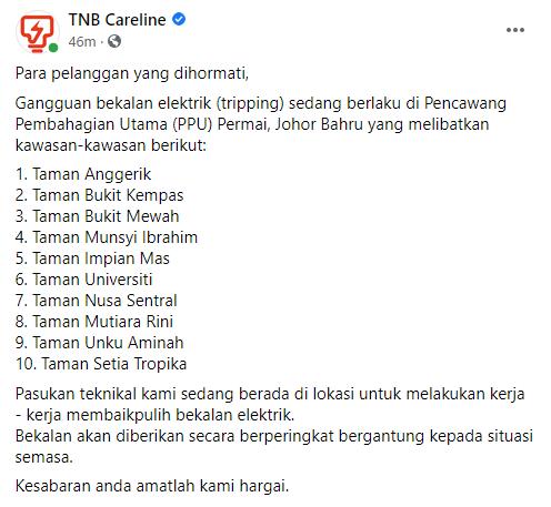 Gangguan Bekalan Elektrik Johor Bahru