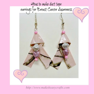 Duct tape earrings for breast cancer awareness