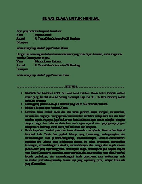 Contoh Surat Kuasa Tanah (via: suratresmi.id)