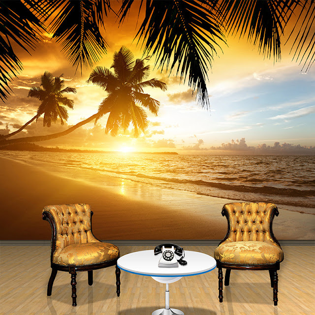 beach wall mural ocean wallpaper tropical palm tree mural nature landscape wallpaper beautiful sunset on the beach 3D photo mural for bedroom living room
