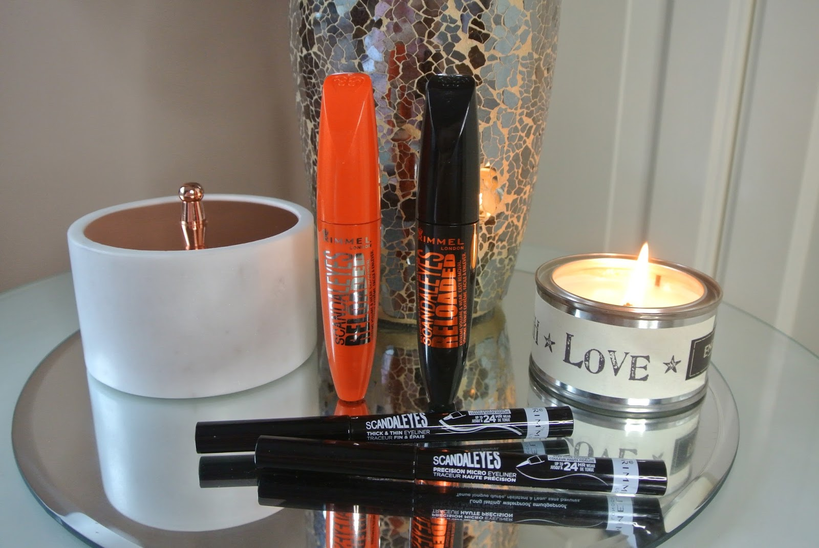 Rimmel Scandaleyes Reloaded Mascara in Black and Extreme Black and Micro Precision and Thick and Thin Eyeliner Review Image
