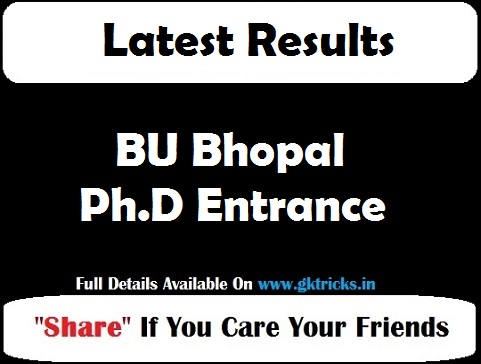 BU Bhopal Ph.D Entrance