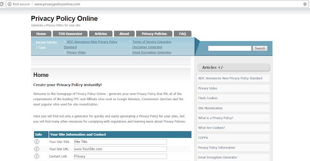 Cara membuat Halaman Privacy Policy untuk Blog
