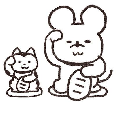 招き猫とネズミのイラスト(子年)白黒線画