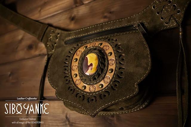 Leather Utility Belt-Leather Hip Belt-Belt Bag-Waist Bag with MOKAITE Stone HANDMADE by Sibo Yanke