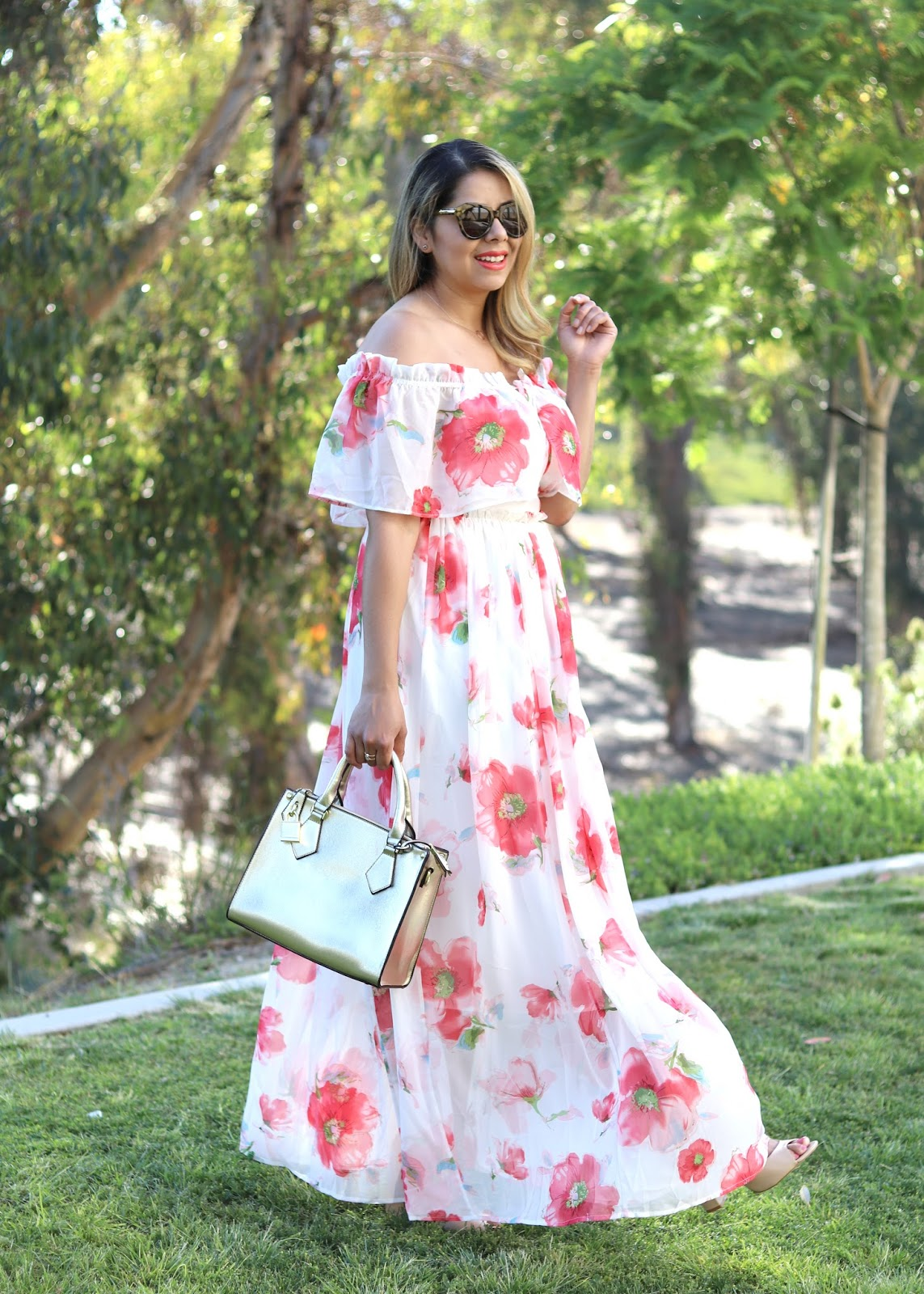 White and Coral Floral Maxi, Chicwish Maxi Dress, San Diego Fashion Blogger, San Diego Style blogger