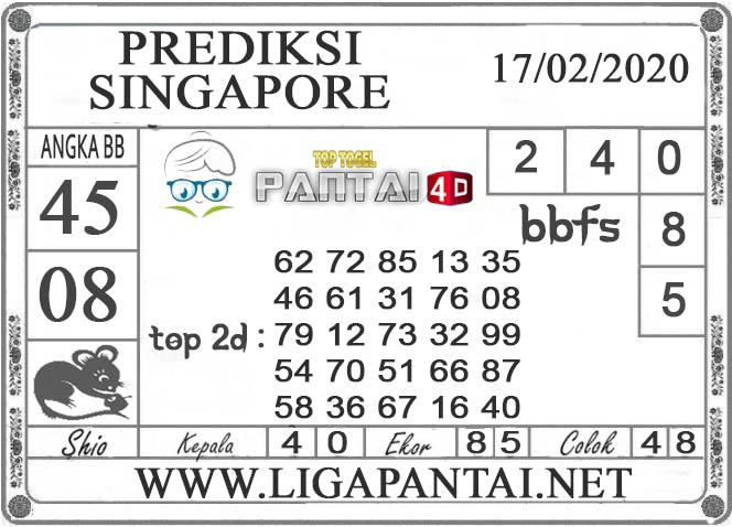 PREDIKSI TOGEL SINGAPORE PANTAI4D 17 FEBRUARI 2020