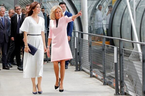 Crown Princess Mary visited Danish artist Sonja Ferlov Mancoba's exhibition at Pompidou Center together with Firsy Lady Brigitte Macron
