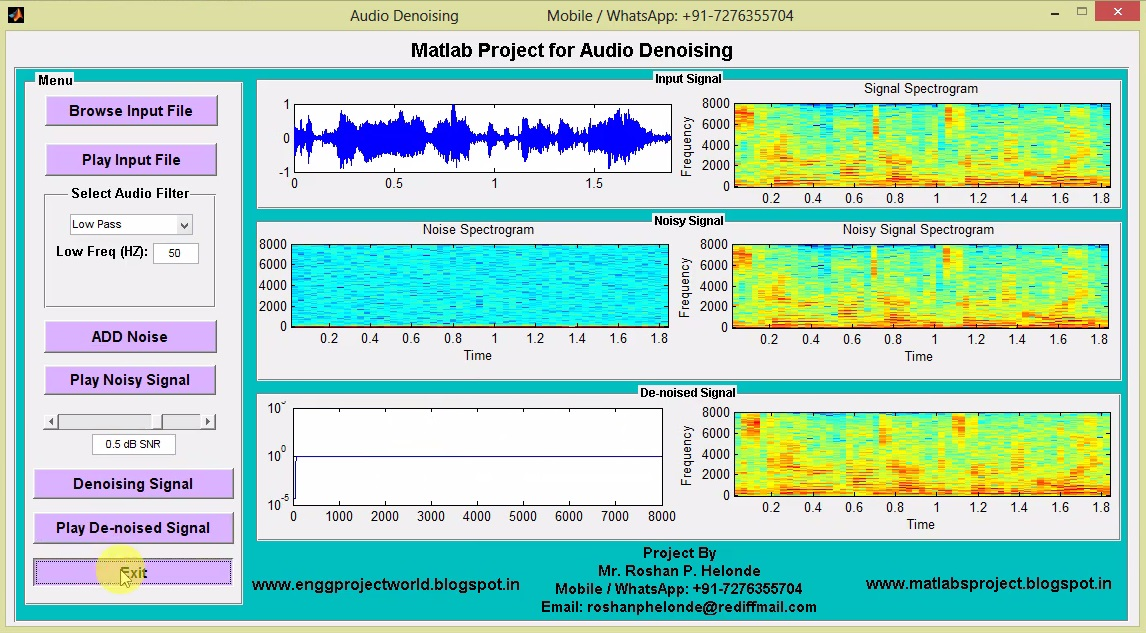 Audio Denoising Matlab Project with Source Code || Final Year