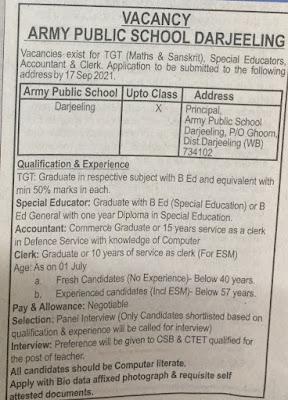 job vacancy at army public school Darjeeling