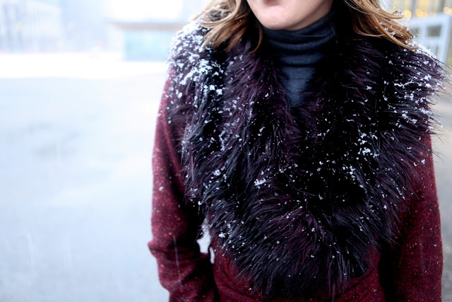 Snowy fur collar