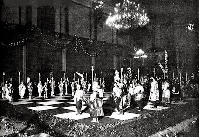 Partida de ajedrez viviente en las Fiestas de la Merced, Barcelona 1904