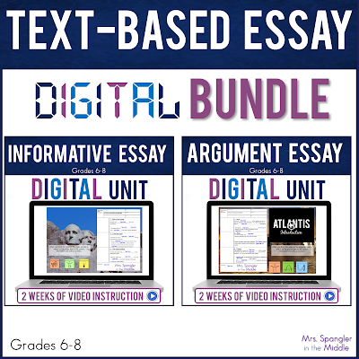 If you are teaching middle school students how to write informative and argumentative essays and are short on time, try these easy-to-use, NO PREP, DIGITAL lessons with FOUR weeks of step-by-step VIDEO lessons, guided notes, texts, organizers and more!