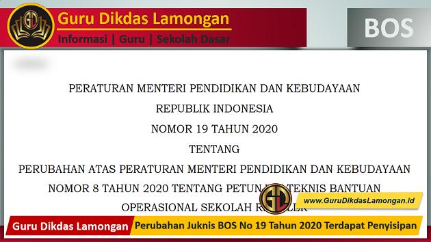 Perubahan Juknis BOS No 19 Tahun 2020