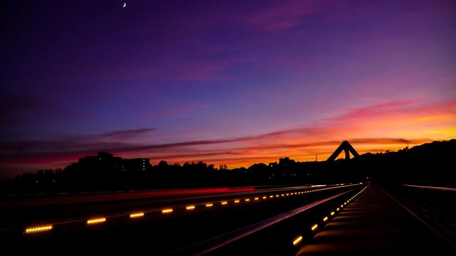 Sunset, Road, Landscape, Scenery, 4K, #6.928