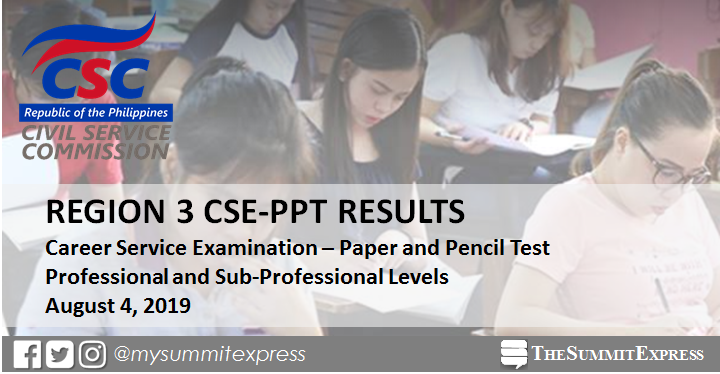 Region 3 Passers: August 2019 Civil service exam CSE-PPT results