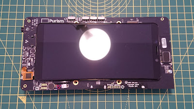 Front view of the Librem 5 devkit