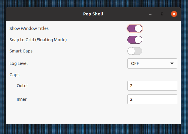Pop Shell extension settings