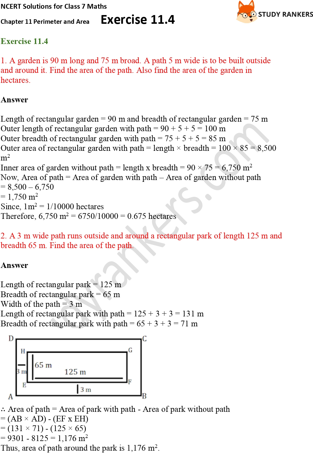 NCERT Solutions for Class 7 Maths Ch 11 Perimeter and Area Exercise 11.4 Part 1