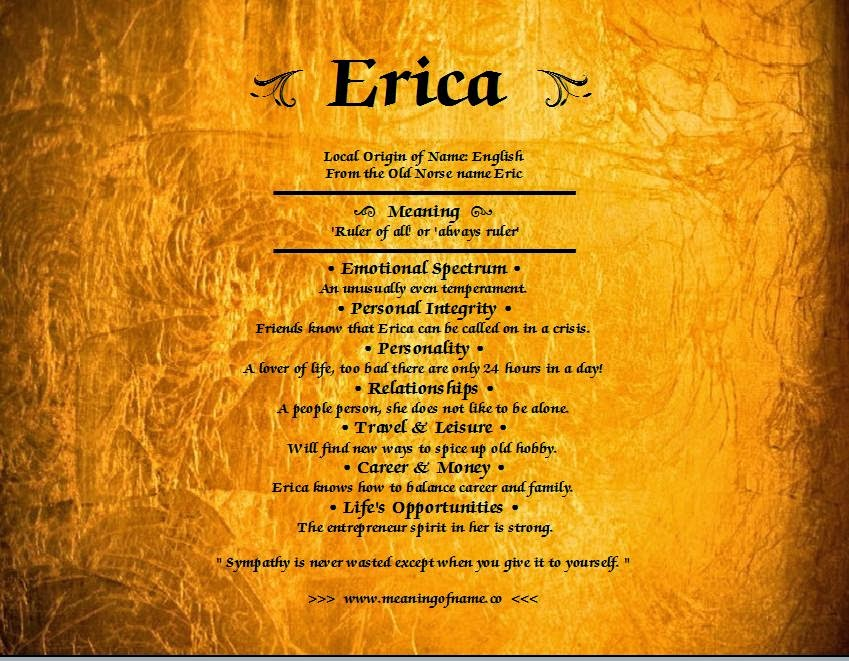 Erica Name: Meaning Of Name