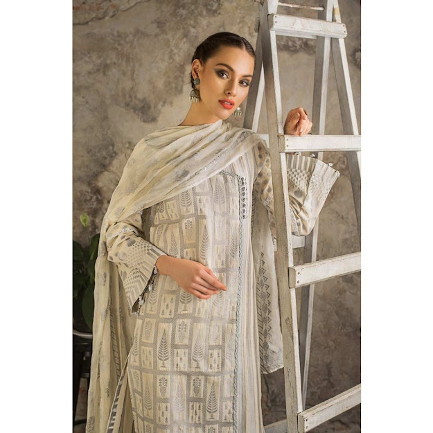 Gul Ahmed Mid summer cream color jacquard suit