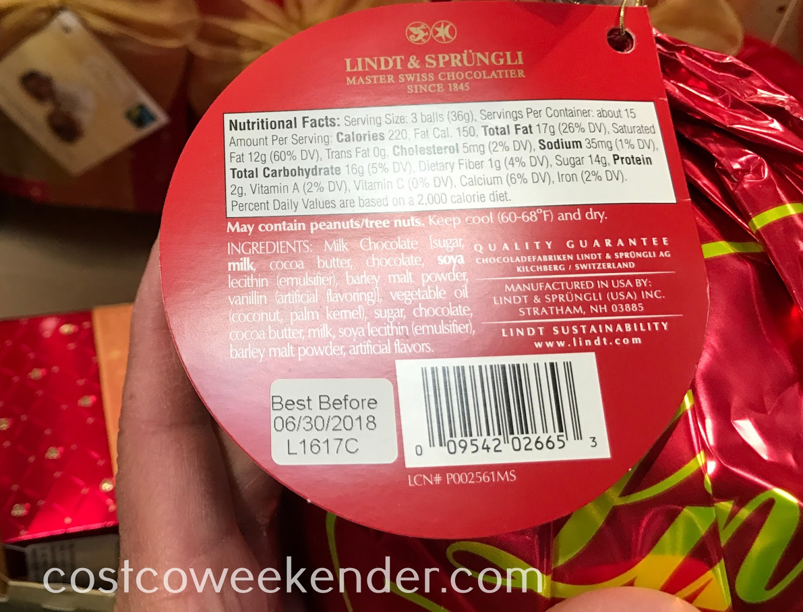 Lindor Milk Chocolate Truffles nutritional information