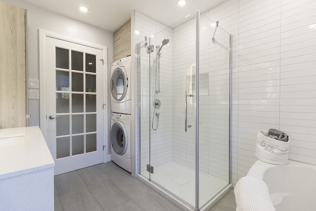 small bathroom designs with shower and washing machine