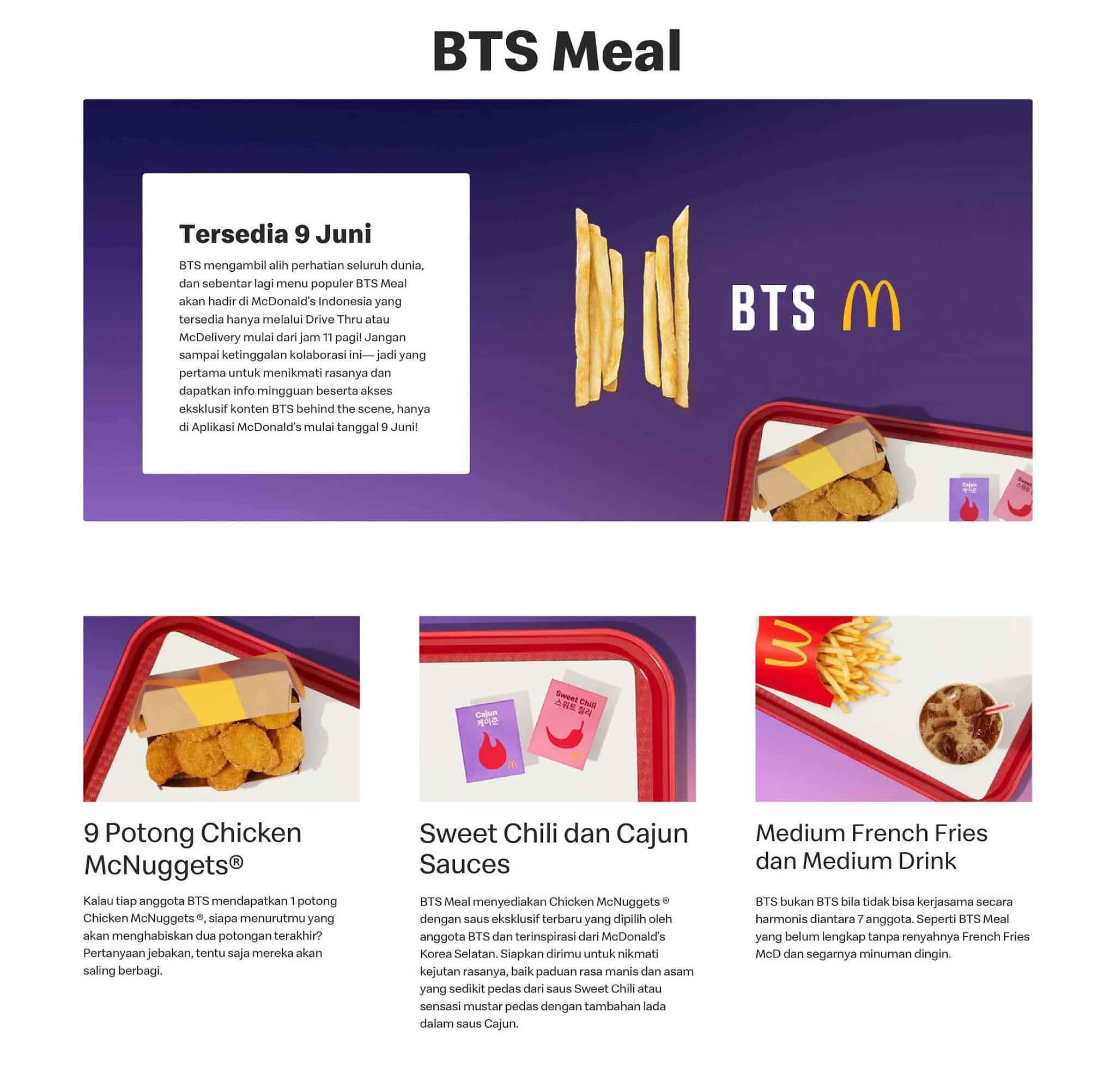 McDonalds BTS MEAL TERSEDIA mulai 09 JUNI 2021