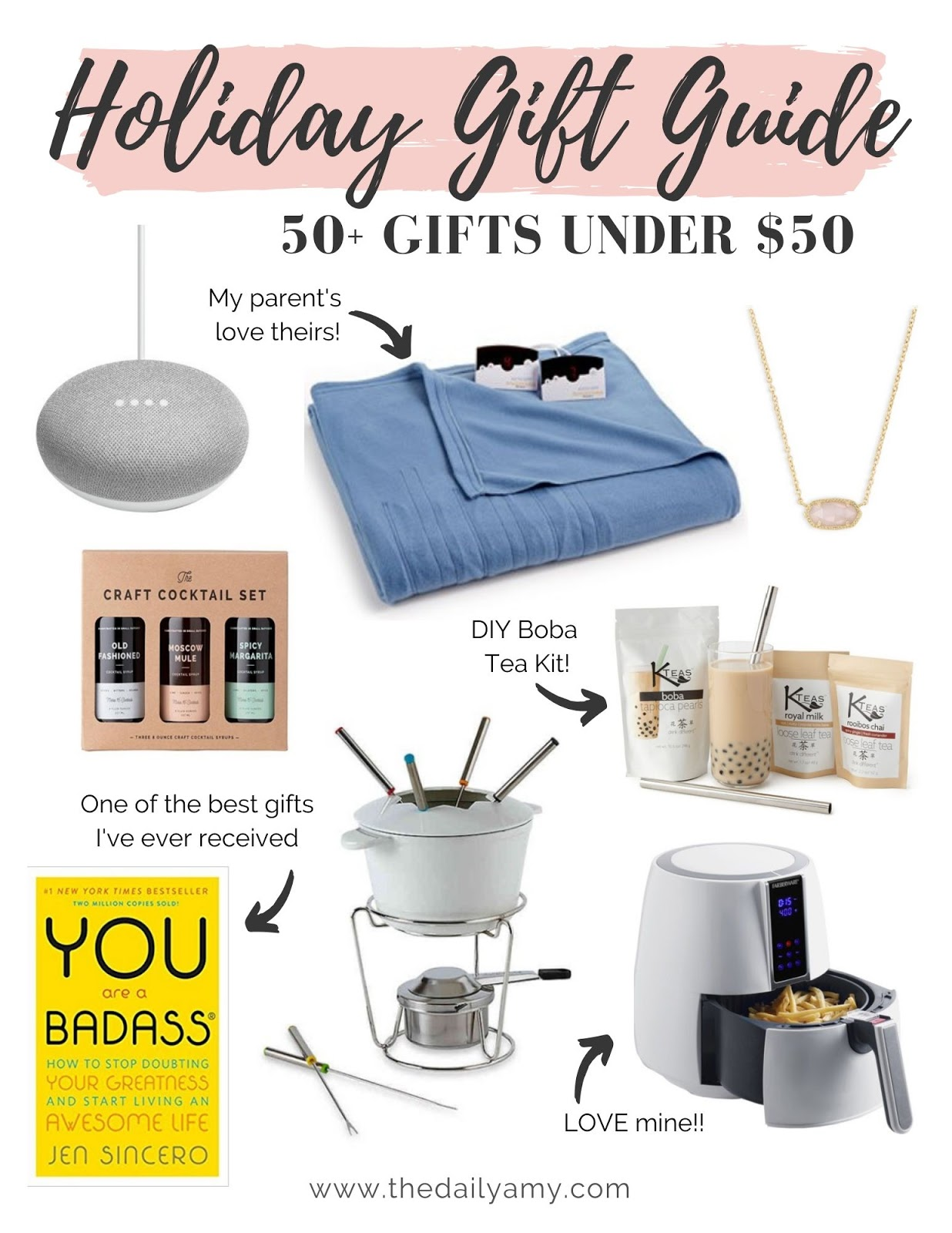 Holiday gift guide - gifts under $50 for everyone on your list