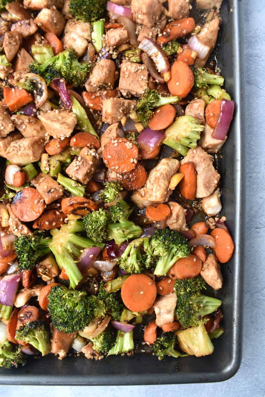 sheet pan sesame chicken and vegetables