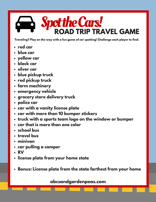Spot the Cars! Printable Travel Game for Kids